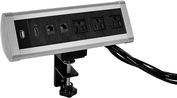 Removable Desktop Clamp Mount Outlet Power Socket with 3 US Power Outlet + 2 USB