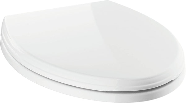 qeqe   Elongated Standard Close Toilet Seat with Non-slip Seat Bumpers