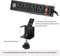 BTU Desktop Clamp Power Strip with 2 USB Ports, Removable Mount Tabletop Outlet