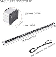 Surge Protector Power Strip 24 Outlet Heavy Duty Multi Plug Outlet Aluminum Sock