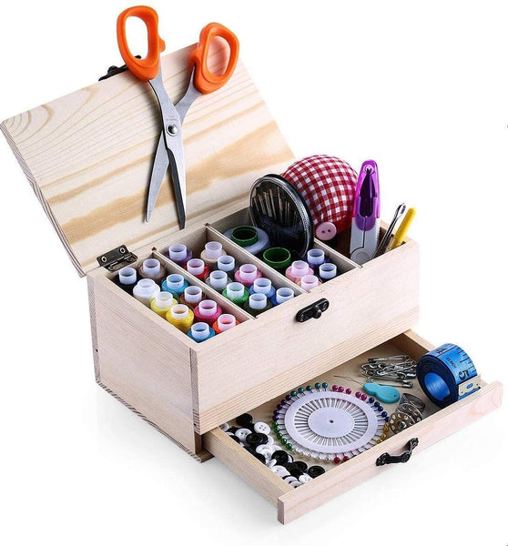 BTU Professional Wooden Sewing Basket Set with Wooden Sewing Box Premium Sewing Kit Accessories for Home Travel and Gift for Women, Men, Adults, Kids