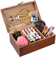 BTU Sewing Kit Box Basket, Wooden Hand Home Sewing Repair Tool Kit, Beginner Universal Sew Kit Accessories for Women, Men, Adults, Kids
