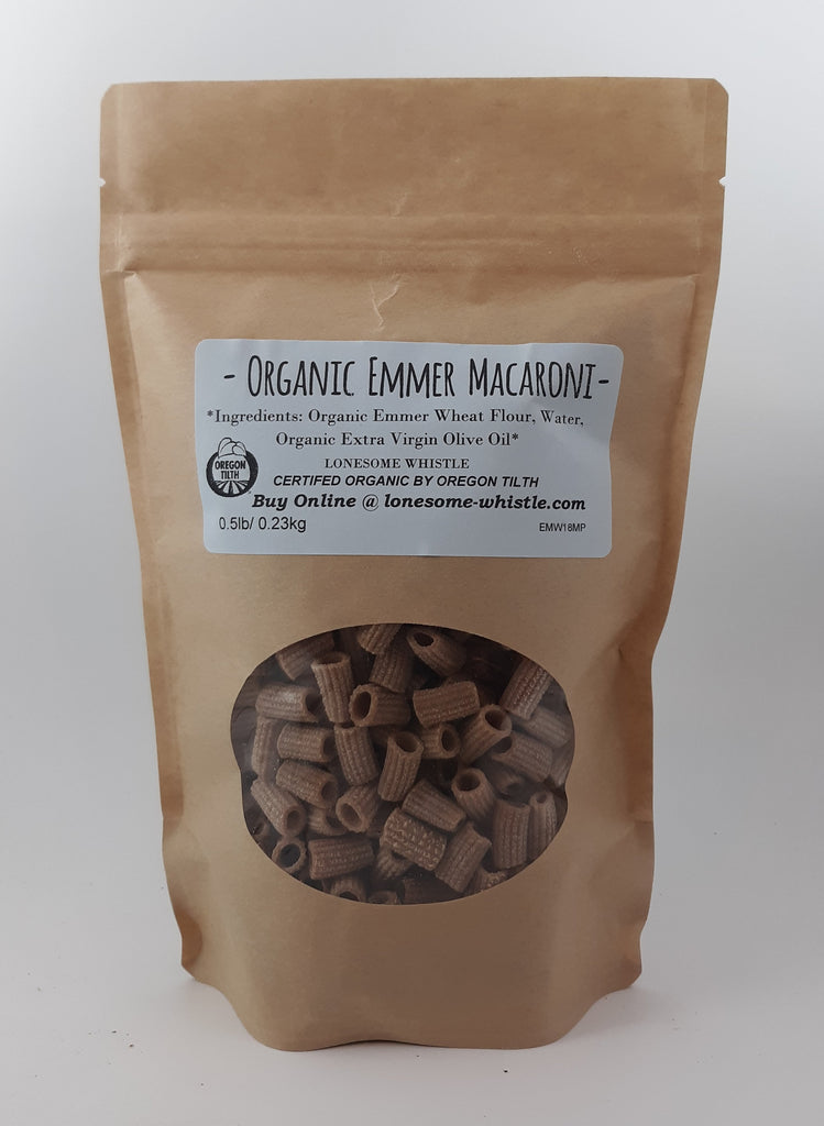 Macaroni Pasta Made with Emmer Wheat Flour- Organic 0.5 lbs