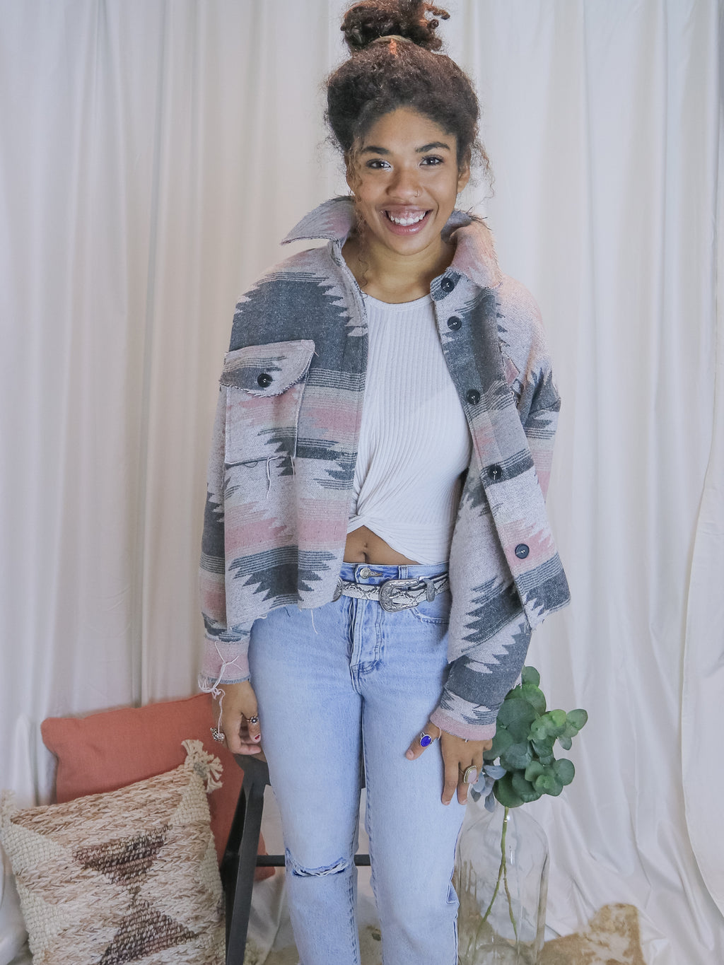 Alexandria's Dusty Rose Aztec Jacket