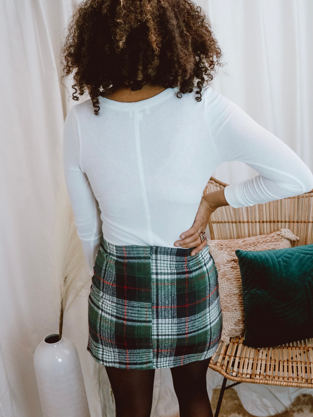 Piper's Green Plaid Knit Skirt