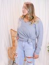 High Tide Grey Ribbed Top