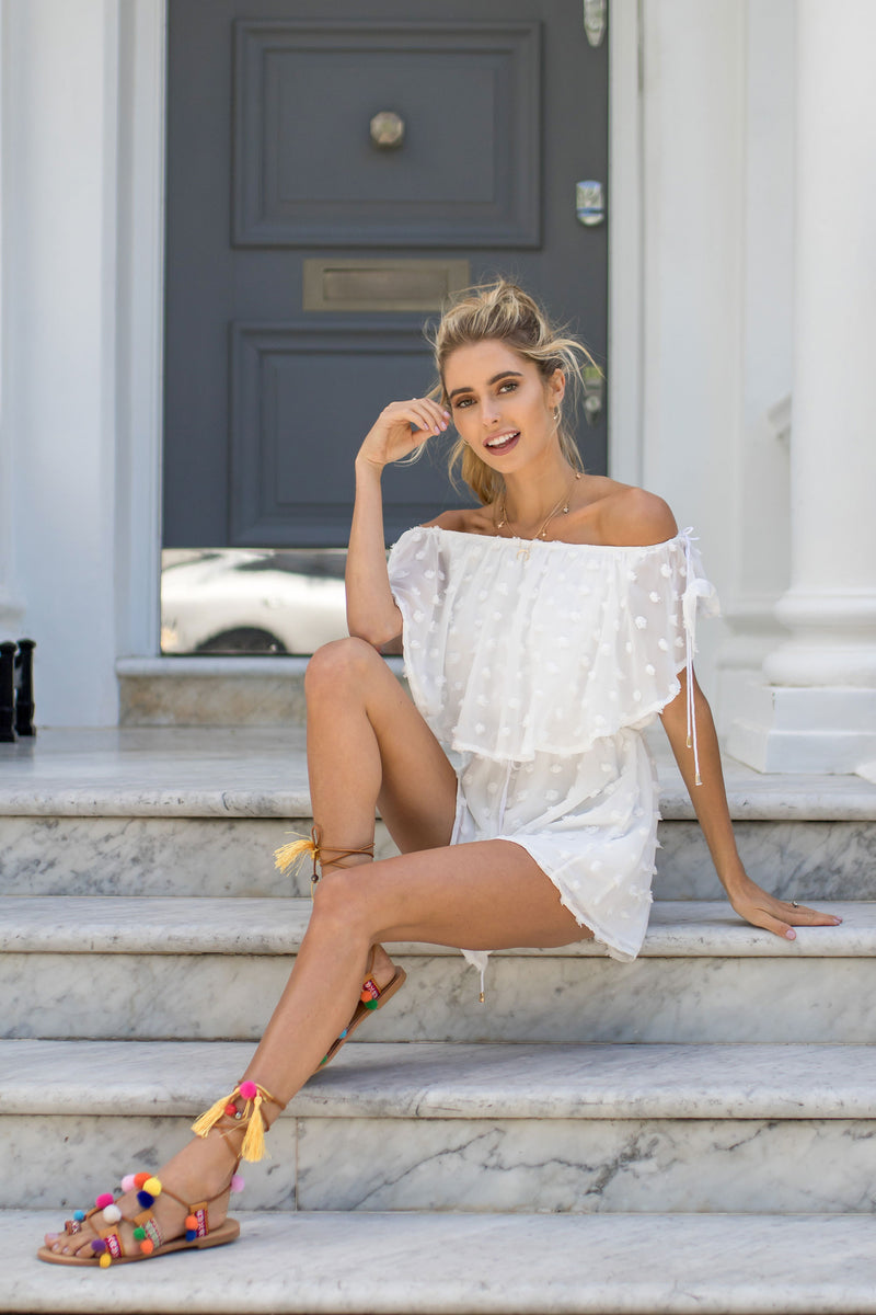 Styled in London Website, Styled in London Clothes, Styled in London Dress, White Chiffon Off Shoulder Playsuit, Bardot, Bow Tie White Summery Holiday Playsuit