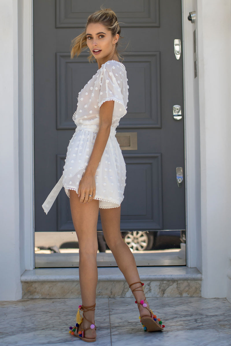 Styled in London Website, Styled in London Clothes, Styled in London Dress, White Chiffon Plunge Neck Playsuit, Bardot, Bow Tie White Summery Holiday Playsuit