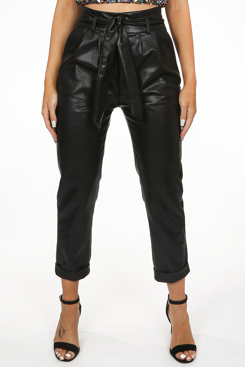 Black PU Faux Leather Tie Waist Trousers
