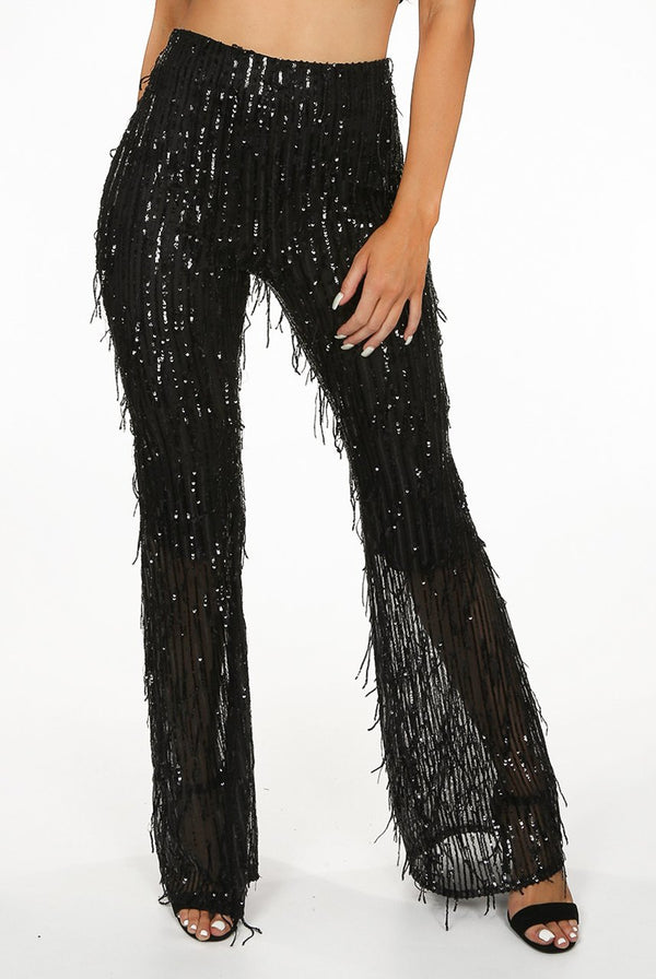 Sequin Bell Bottom Trousers in Black