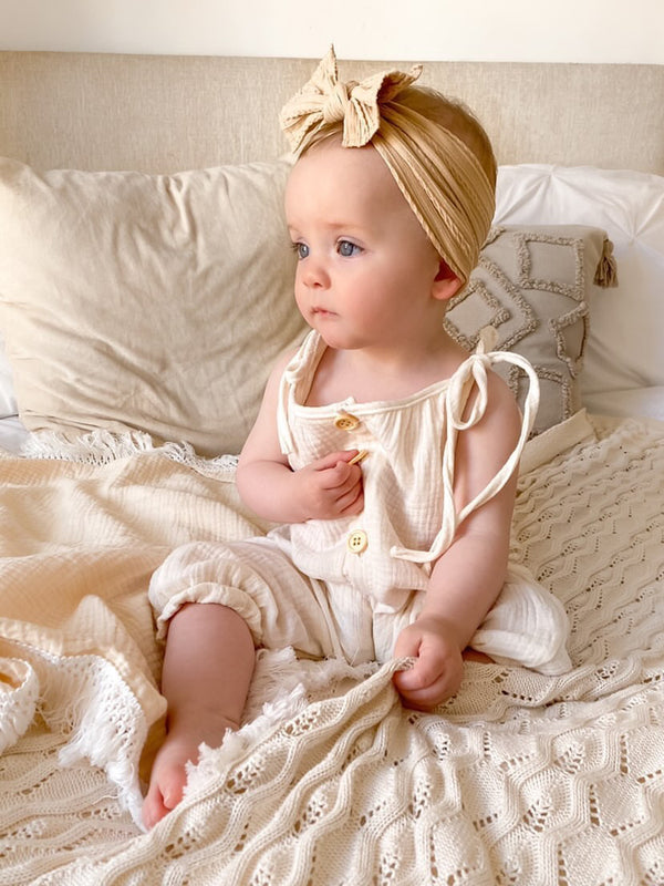 Minnie and Monty Beige Muslin Button Down Jumpsuit