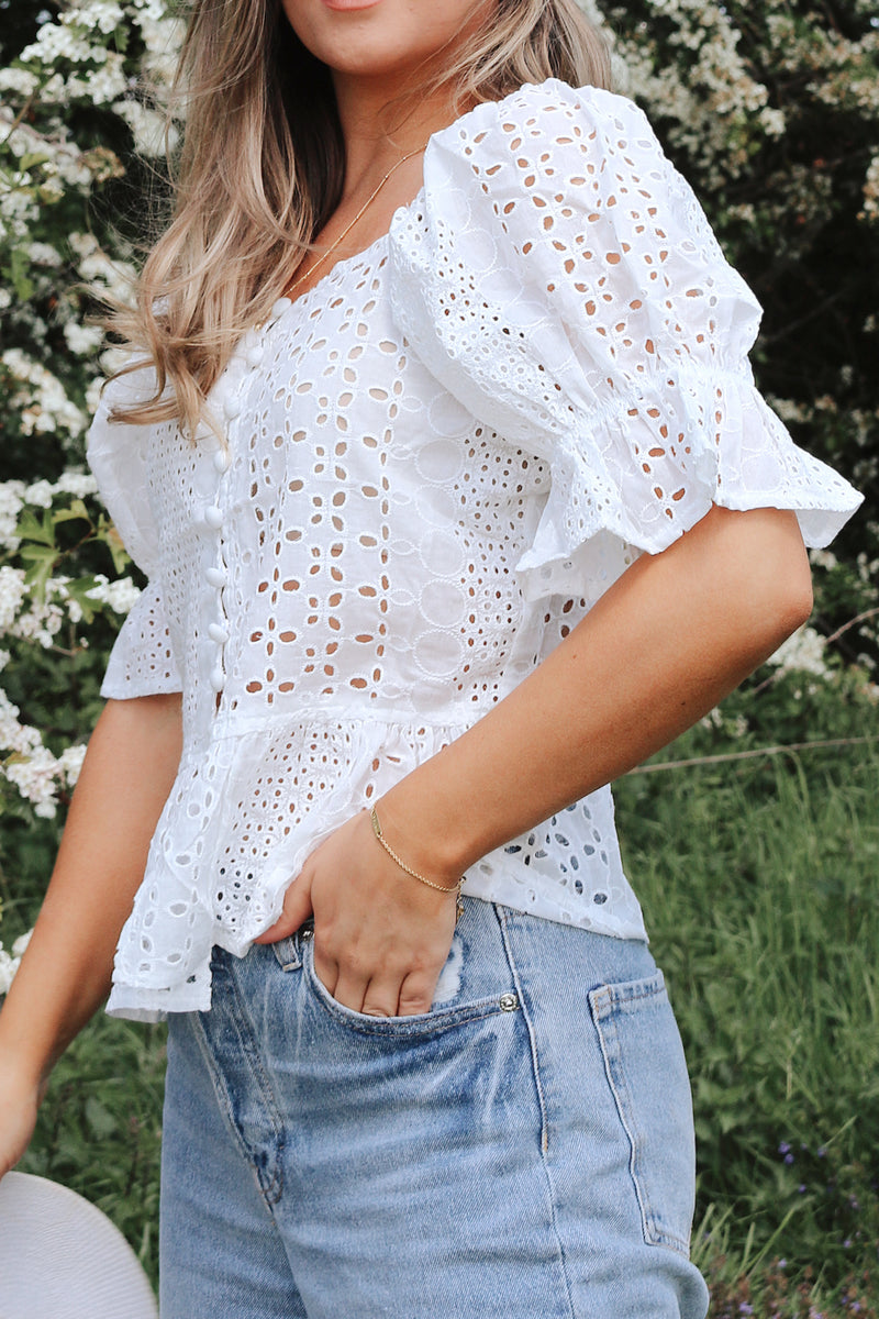 White Broderie Anglaise Button Down Top