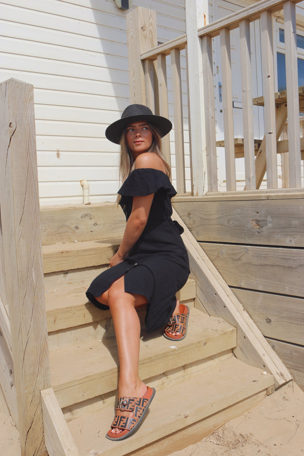 Black Linen Frill Off Shoulder Midi Dress