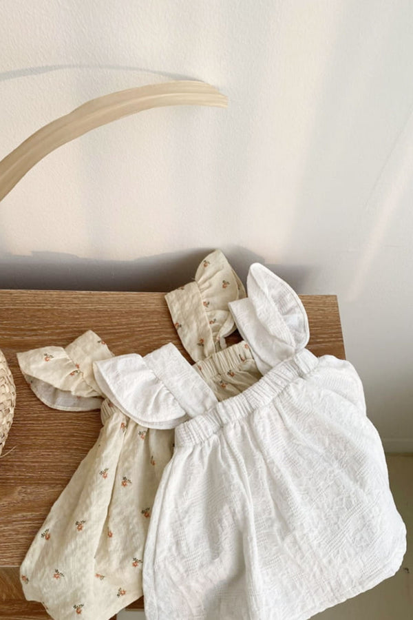 Minnie and Monty AOSTA De Arles Top in Ivory/Floral Korean Baby Clothes Traditional Baby Clothes