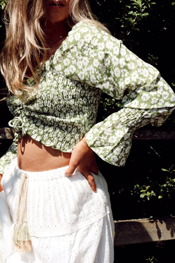 Pastel Green Floral Shirred Long Sleeve Crop Top