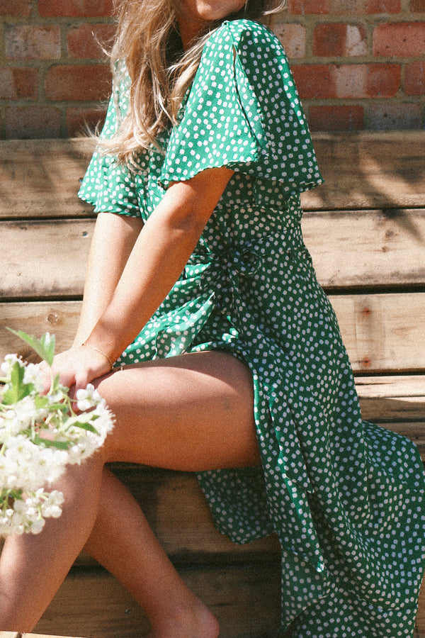 Green Ditsy Floral Wrap Style Midi Dress