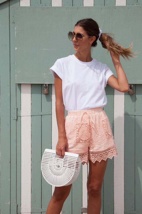 Peachy Pink Crochet Lace Cotton Shorts