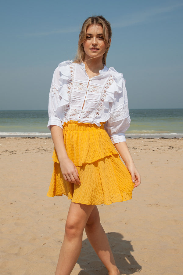 Mustard Frill Mini Skirt