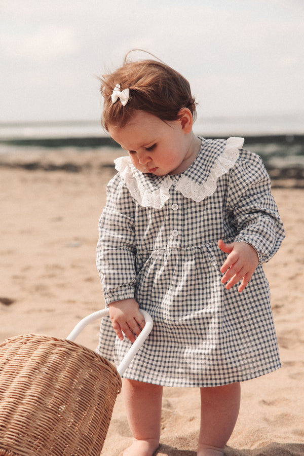 NavyMinnie and Monty Gingham Broderie Collar Romper Dress