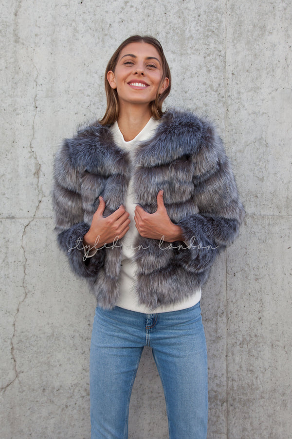 Soho Silver Grey Faux Fur Short Panelled Jacket
