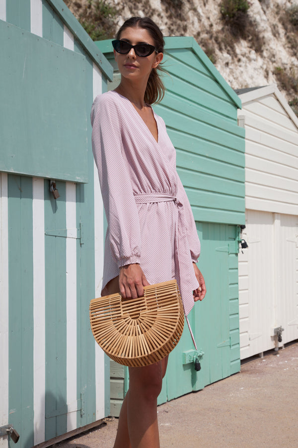 Polka Dot Wrap Playsuit in Dusky Pink