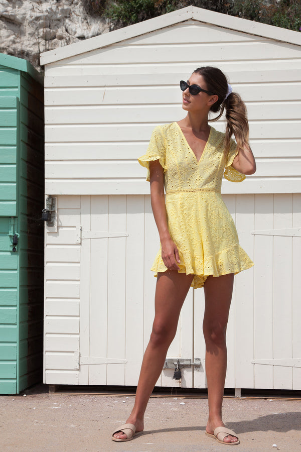 Yellow Frill Short Sleeve Playsuit