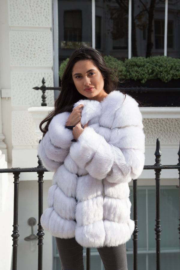 Styled in London Website, Styled in London Clothes, Celebrity Clothing, Faux Fur Longline Jacket in Silver White