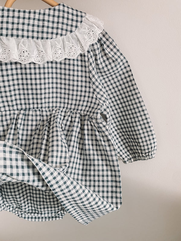 Navy Gingham Broderie Collar Romper Dress