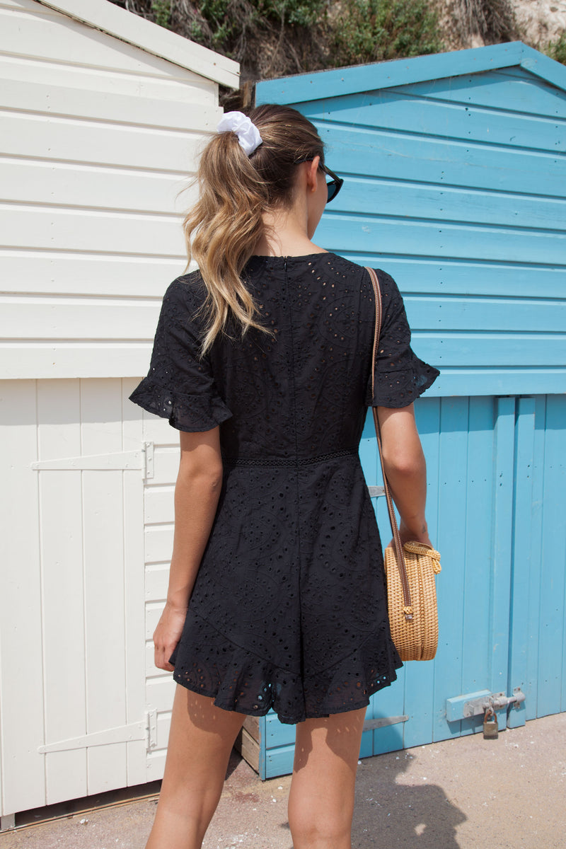 Black Broderie Frill Short Sleeve Playsuit