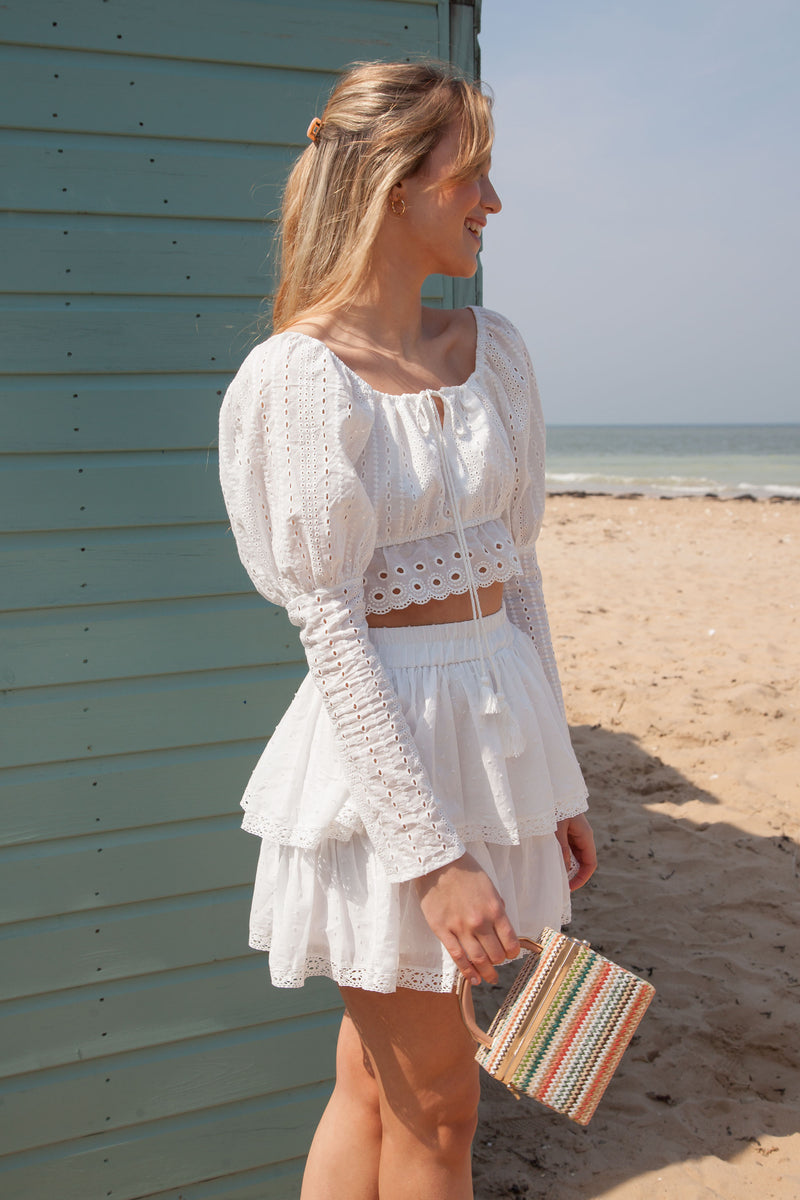 White Multi Frill Mini Skirt