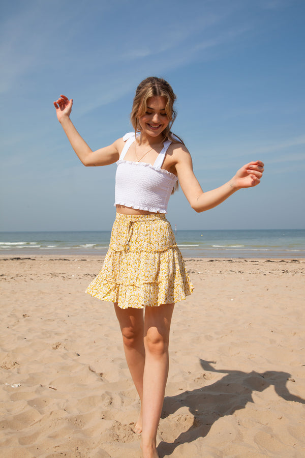 Yellow Ditsy Floral Frill Mini Skirt