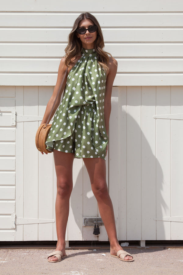 Olive Spot Silky Satin Halter Backless Top + Shorts Set