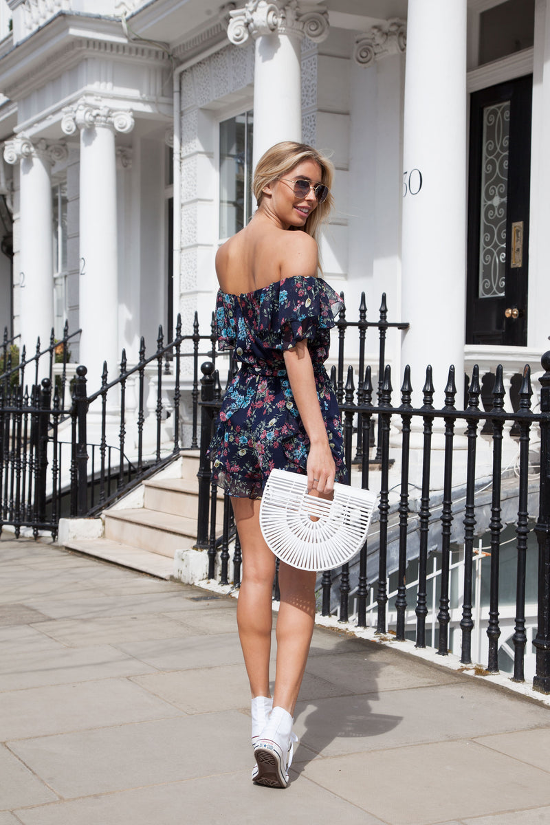 Navy Blue Floral Frill Off Shoulder Playsuit