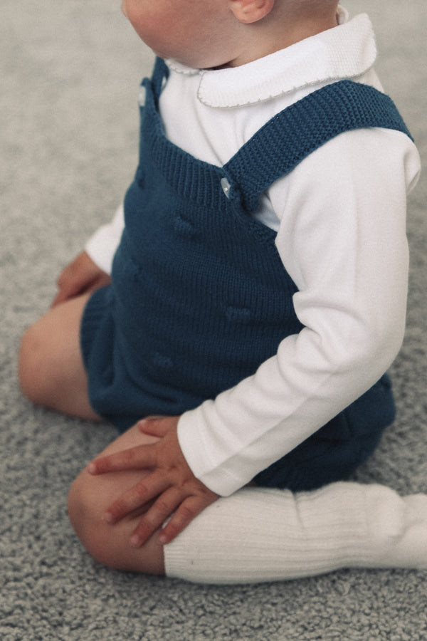 Navy Blue Bobble Knitted Romper
