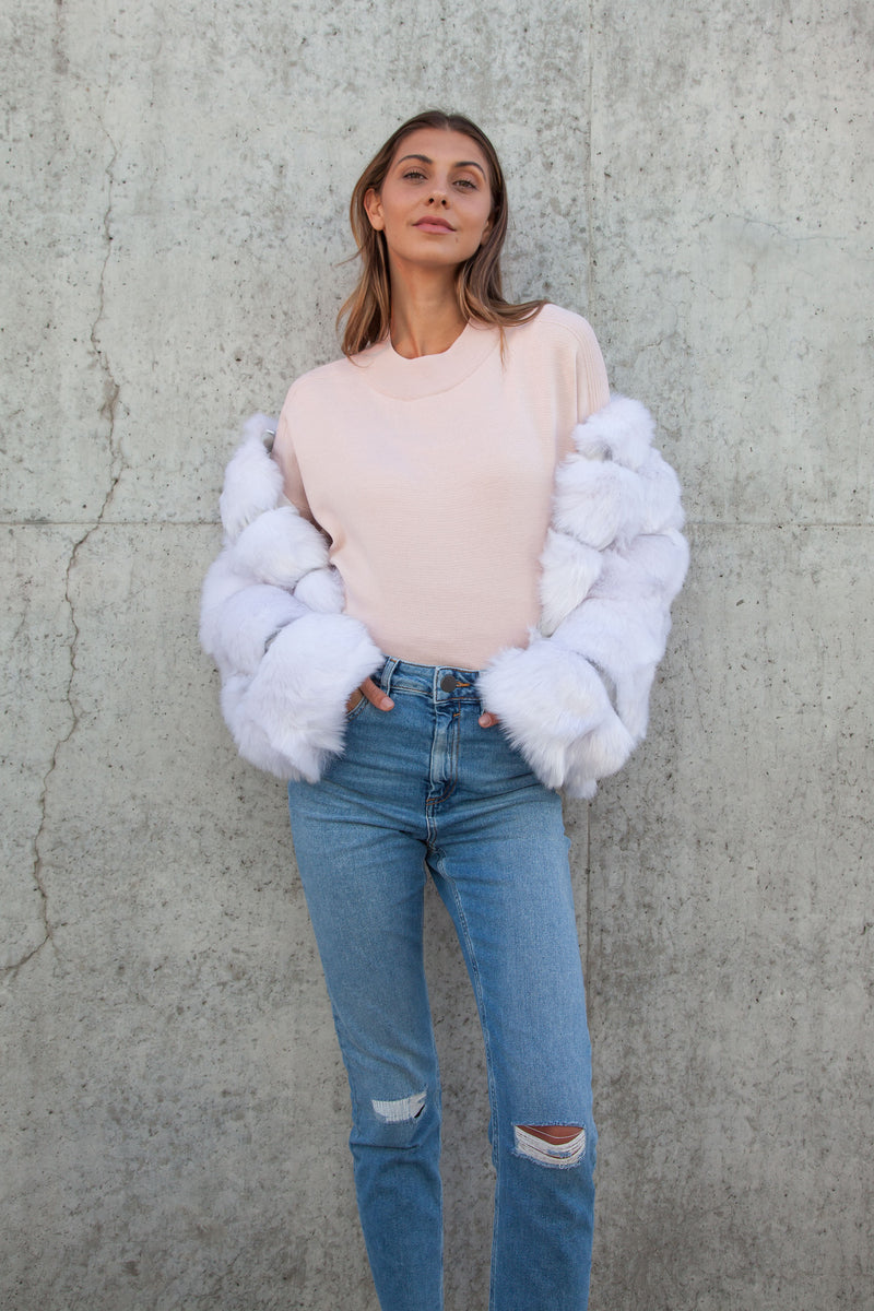 Soho Silver White Faux Fur Short Panelled Jacket