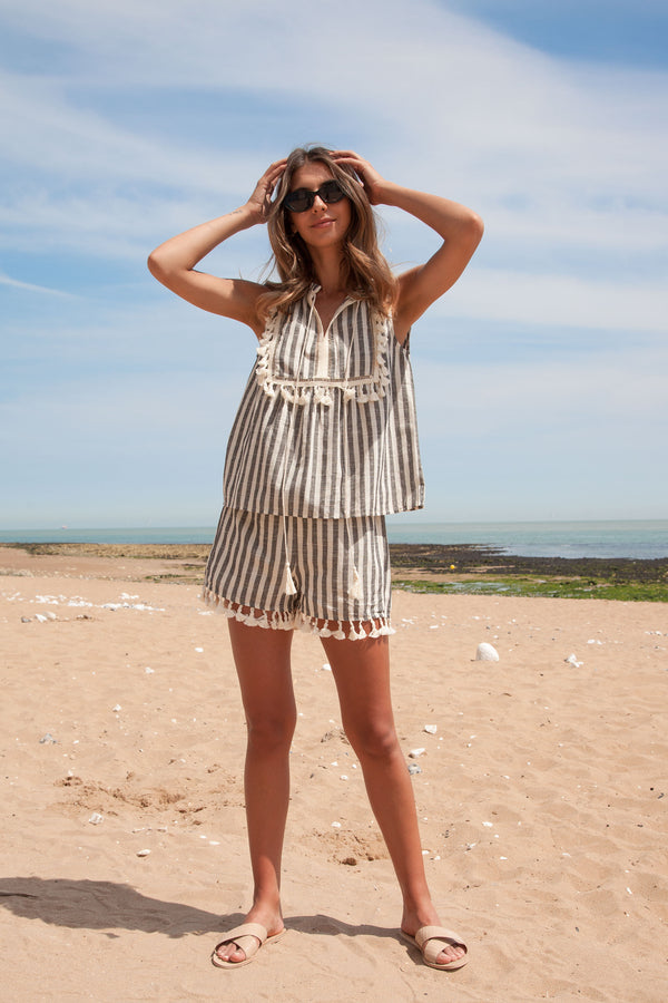 Black Stripe Linen Tassel Top + Shorts Set