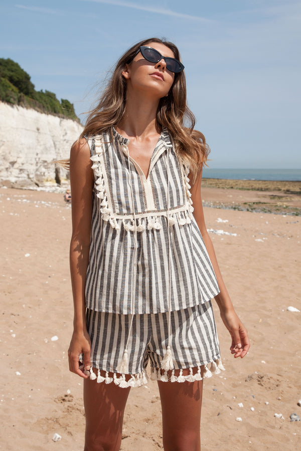 Black Stripe Linen Tassel Top