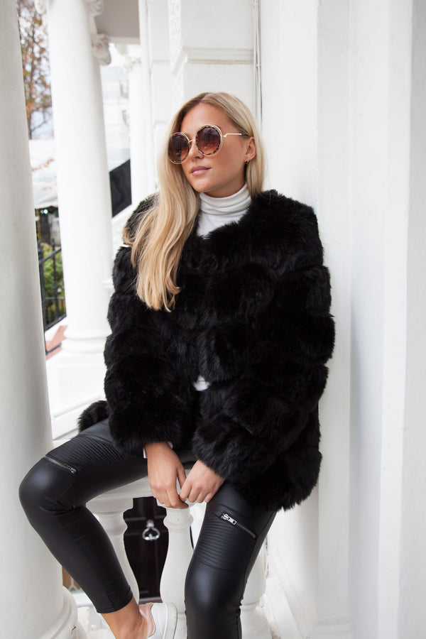 Styled in London Website, Styled in London Clothes, Celebrity Clothing, Faux Fur Longline Jacket in Black