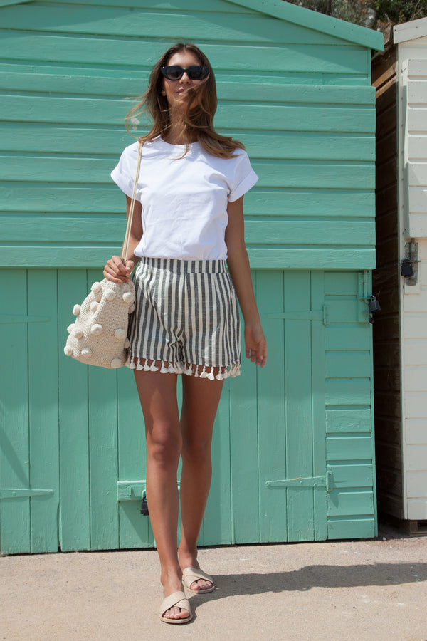Black Stripe Linen Tassel Shorts