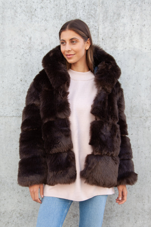 Soho Faux Fur Hooded Short Jacket in Chocolate Brown