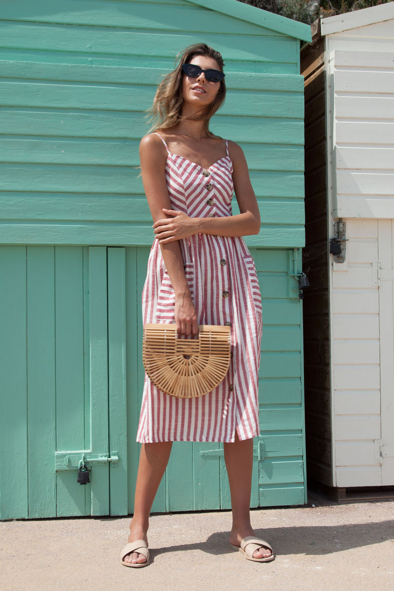 Red Stripe Linen Button Down Midi Dress