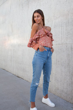 Leopard Satin Off Shoulder Frill Top in Rust