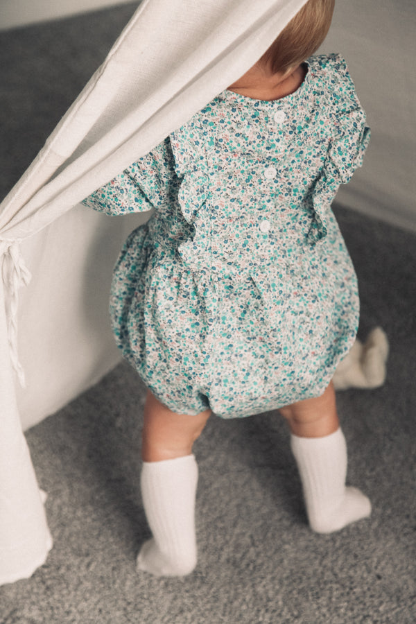 Blue Floral Frill Long Sleeve Romper