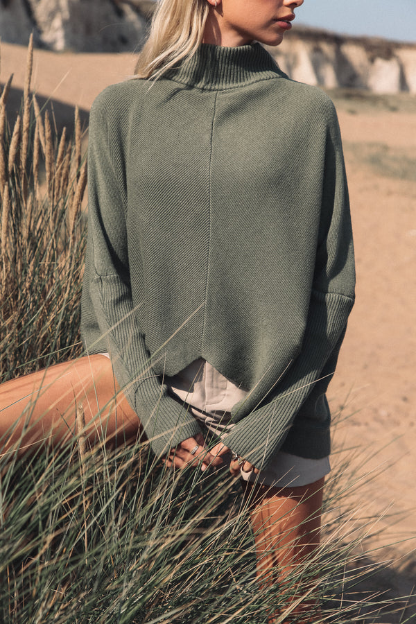 Soft Khaki High Neck Jumper