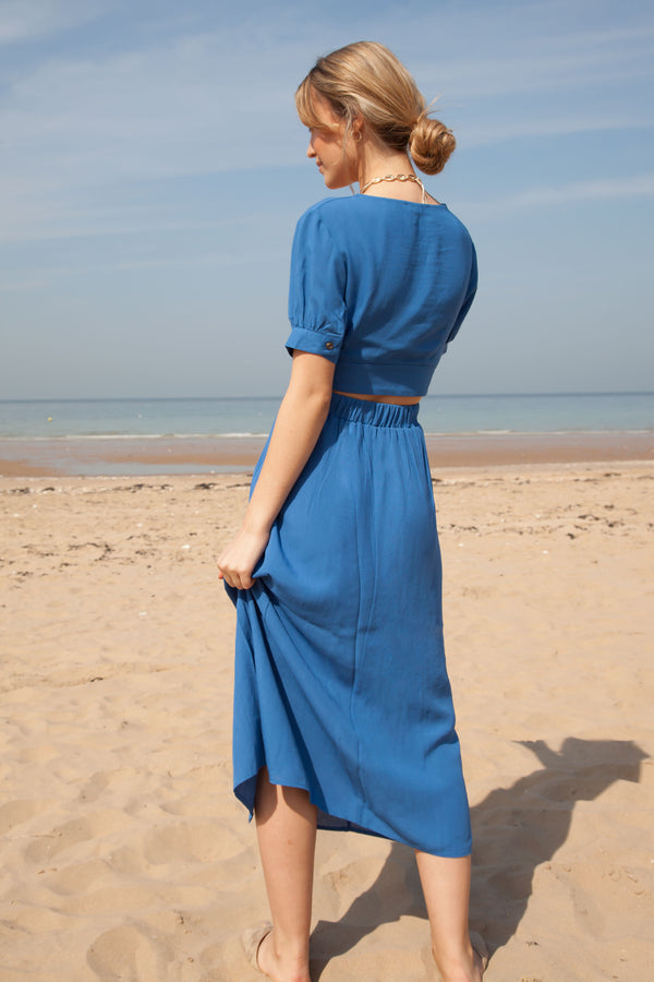 Blue Linen Button Down Top + Midi Skirt Co-ord