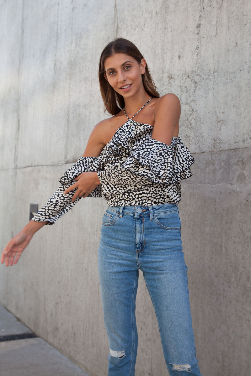 Leopard Satin Off Shoulder Frill Top in Black/White
