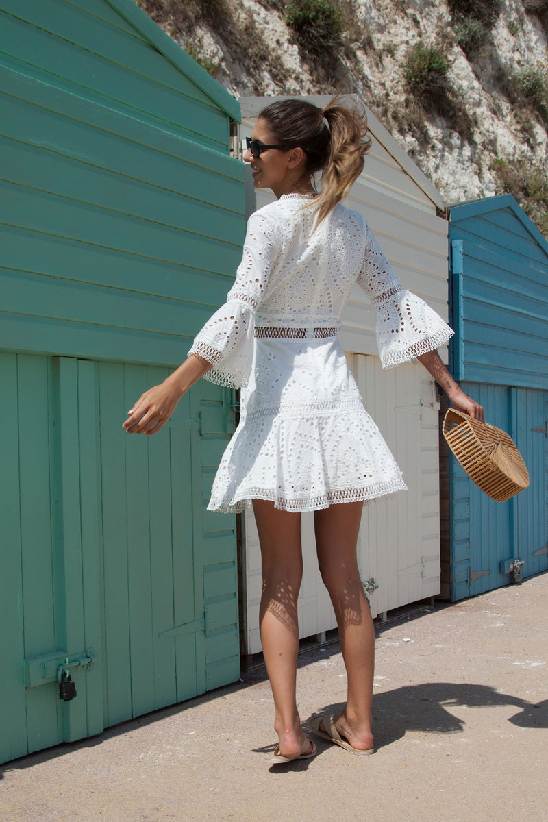 Luxe Crochet Lace Flare Sleeve Skater Dress