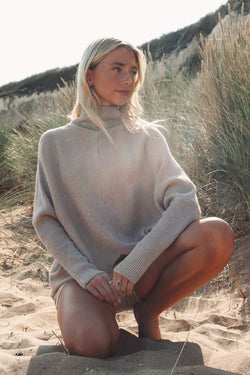 Soft Taupe High Neck Jumper