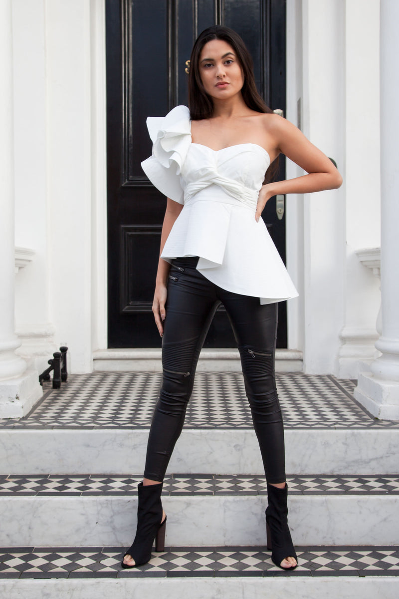 One Shoulder Frill Top in White