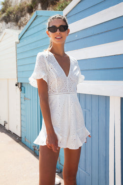 White Broderie Frill Short Sleeve Playsuit